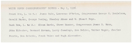 George Duning White House List